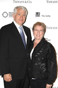 LOS ANGELES, CA - OCTOBER 2: UCLA Chancellor Gene Block (L) and Carol Block (R) arrive during the Pacific Standard Time: Art in LA 1945-1980 opening event held at the Getty Center on October 2, 2011 in Los Angeles, California. (Photo by Ryan Miller/Capture Imaging)