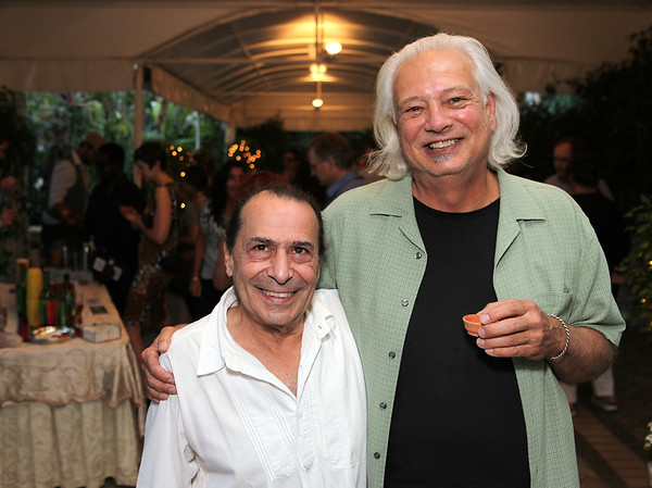 BEVERLY HILLS, CA - OCTOBER 1: Ron Cooper (L) and Artist Allen Ruppersberg (R) pose during the Ron Cooper tasting event at the Pacific Standard Time VIP Suite at the Four Seasons Hotel on October 1, 2011 in Beverly Hills, California. (Photo by Ryan Miller/Capture Imaging)