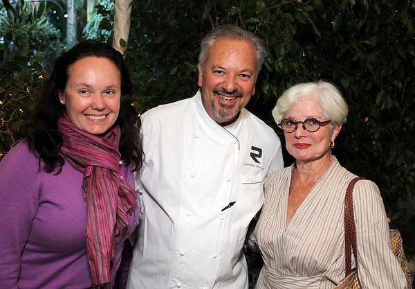 BEVERLY HILLS, CA - OCTOBER 1: (L-R) Robin Clark, MCASD Curator, Chef John Sedlar of the Riviera Resturaunt and Merry Norris pose during the Ron Cooper tasting event at the Pacific Standard Time VIP Suite at the Four Seasons Hotel on October 1, 2011 in Beverly Hills, California. (Photo by Ryan Miller/Capture Imaging)