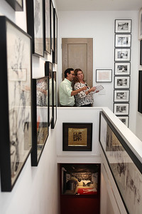 BEVERLY HILLS, CA - OCTOBER 1: Eric Loy (L) and Cardiff Loy (R) explore during a VIP tour the Rosette Delug art collection at her home on October 1, 2011 in Beverly Hills, California. (Photo by Ryan Miller/Capture Imaging)