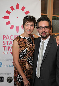 BEVERLY HILLS, CA - OCTOBER 1: Alison Perchuk (L) with Andrew Perchuk, Deputy Director of the Getty Research Institute (R) pose during the Ron Cooper tasting event at the Pacific Standard Time VIP Suite at the Four Seasons Hotel on October 1, 2011 in Beverly Hills, California. (Photo by Ryan Miller/Capture Imaging)