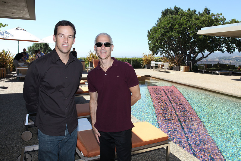 BEVERLY HILLS, CA - OCTOBER 1: Scott Rosser (L) and Kevin Salatino (R) pose during a VIP tour the Rosette Delug art collection at her home on October 1, 2011 in Beverly Hills, California. (Photo by Ryan Miller/Capture Imaging)