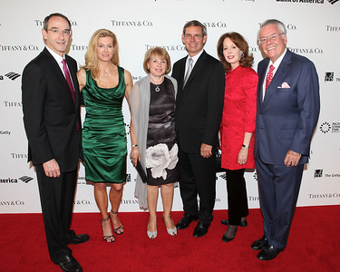 LOS ANGELES, CA - OCTOBER 2: (L-R) Christina Siegel, Mark S. Siegel, President Board of Trustees, J. Paul Getty Trust; Michael Kowalski, Chairman and CEO, Tiffany & Co.; Barbara Kowalski, Maria Hummer-Tuttle, Trustee, Board of Trustees, J. Paul Getty Trust and Ambassador Robert Holmes Tuttle arrive during the Pacific Standard Time: Art in LA 1945-1980 opening event held at the Getty Center on October 2, 2011 in Los Angeles, California. (Photo by Ryan Miller/Capture Imaging)