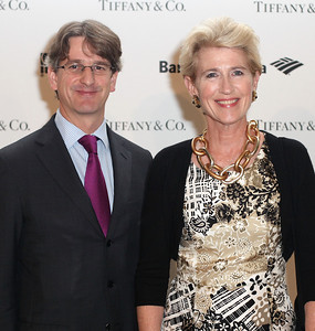 LOS ANGELES, CA - OCTOBER 2: Thomas Campbell, Director of the Metropolitan Museum of Art (L) and Emily Rafferty, President of the Metropolitan Museum of Art (R) arrive during the Pacific Standard Time: Art in LA 1945-1980 opening event held at the Getty Center on October 2, 2011 in Los Angeles, California. (Photo by Ryan Miller/Capture Imaging)