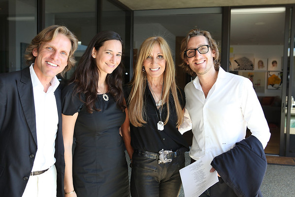 BEVERLY HILLS, CA - OCTOBER 1: (L-R) Stefan Hildebrandt, Bettina Korek, Rosette Delug and Paul McCabe pose during a VIP tour the Rosette Delug art collection at her home on October 1, 2011 in Beverly Hills, California. (Photo by Ryan Miller/Capture Imaging)