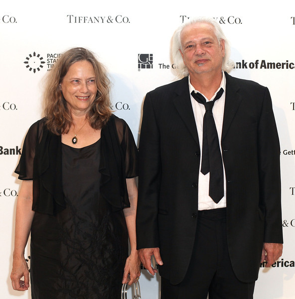 LOS ANGELES, CA - OCTOBER 2: Bridget Johnson (L) and Artist Doug Wheeler (R) arrive during the Pacific Standard Time: Art in LA 1945-1980 opening event held at the Getty Center on October 2, 2011 in Los Angeles, California. (Photo by Ryan Miller/Capture Imaging)