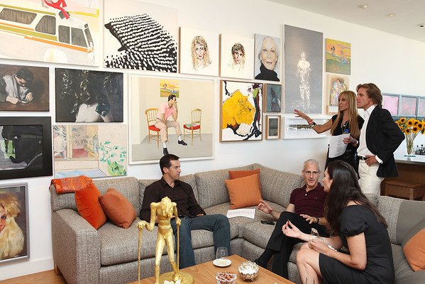BEVERLY HILLS, CA - OCTOBER 1: (L-R) Scott Rosser, Kevin Salatino, Bettina Korek, Rosette Delug and Paul McCabe talk during a VIP tour the Rosette Delug art collection at her home on October 1, 2011 in Beverly Hills, California. (Photo by Ryan Miller/Capture Imaging)
