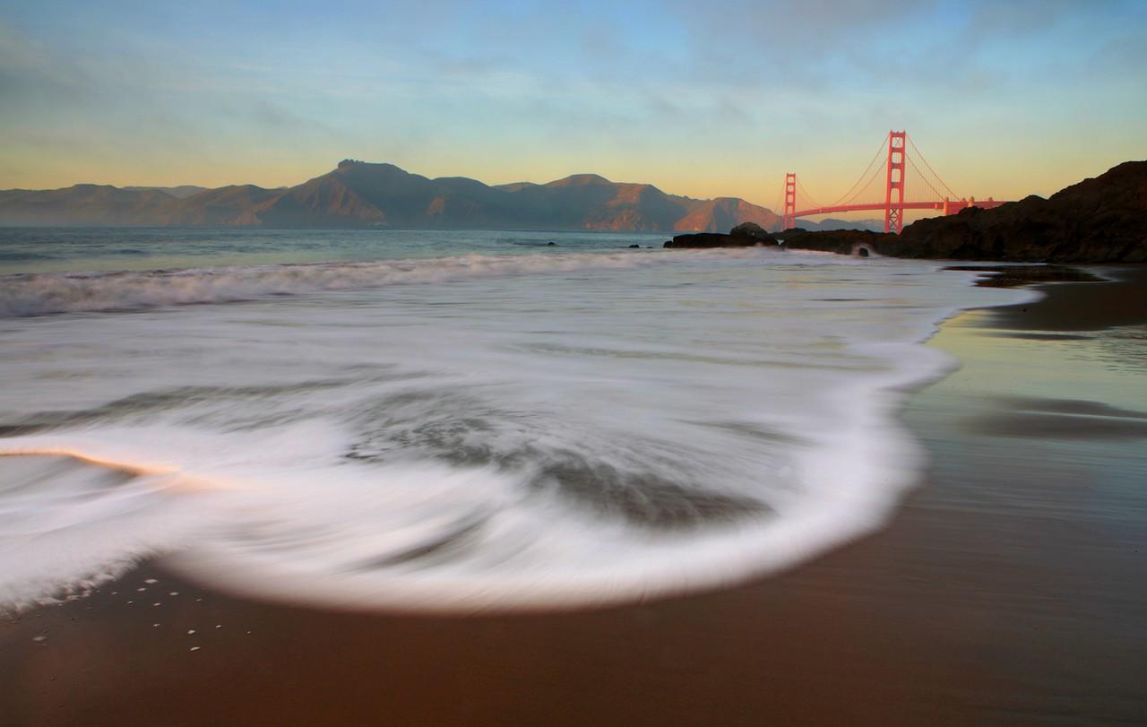 Last Light on Baker Beach and Golden Gate Bridge