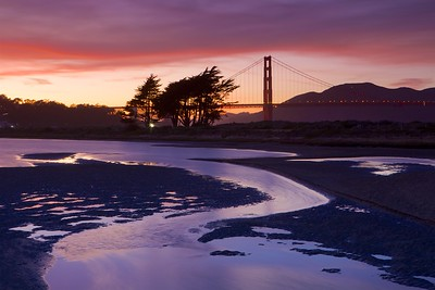 Beautiful sunset at Crissy Lagoon with the Golden Gate Bridge in the background