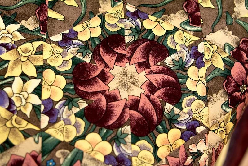 Kaleidoszkóp mintával készült takaró részlete.