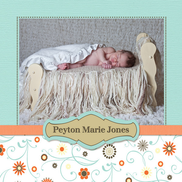 front side of sample birth announcement #3