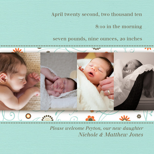 flip side of sample birth announcement #3