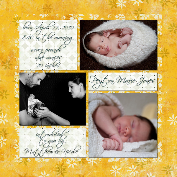 flip side of sample birth announcement #1