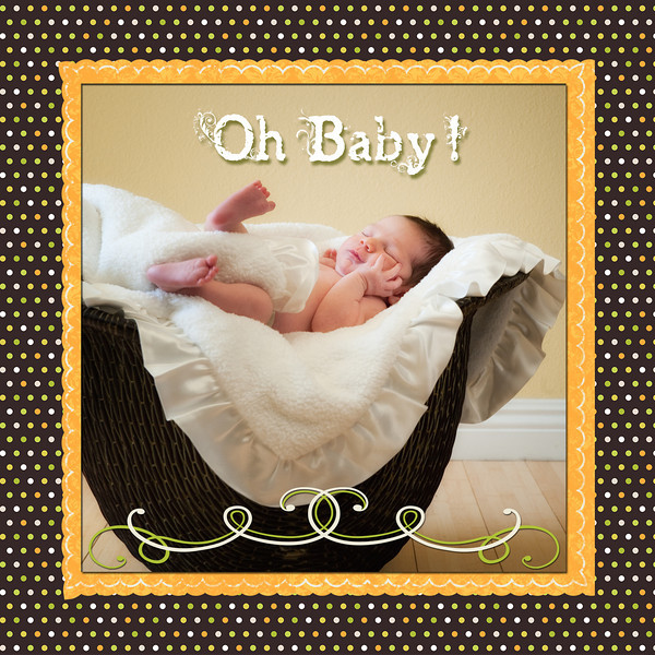 front side of sample birth announcement #2