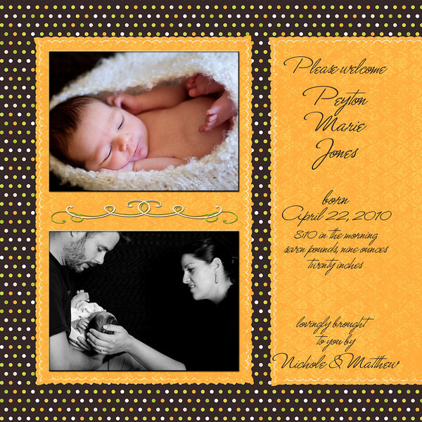 flip side of sample birth announcement #2