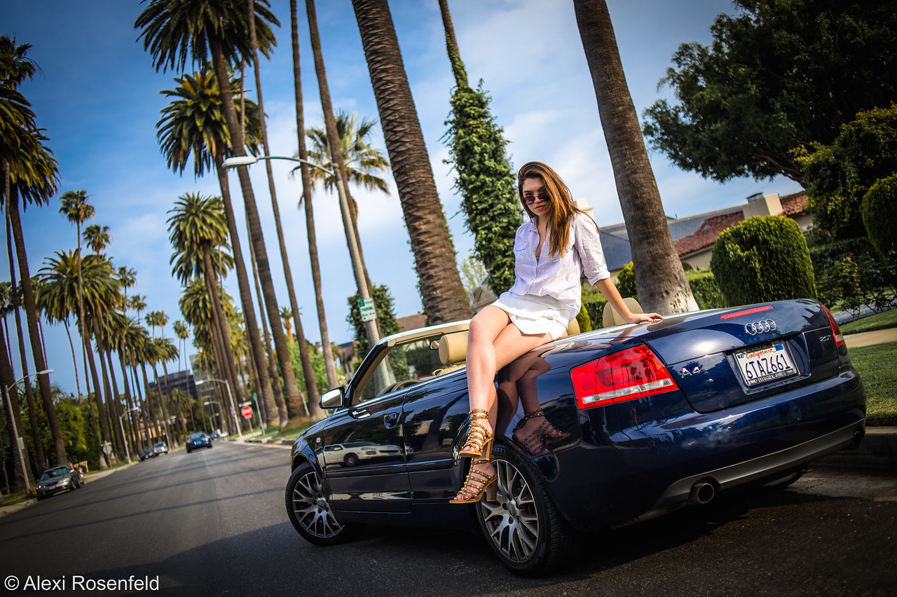 Sam and her Audi in Beverly Hills