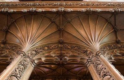 Rood Screen detail: two double fan vaults, nave side