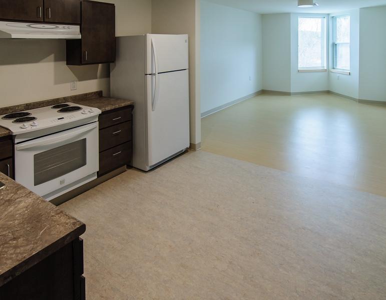 1BR; Kitchen, Living Room