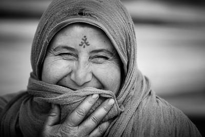 Syrian woman with tribal tattoos.  Beqaa Valley, Lebanon, 2015 ---- Femme syrienne arborant des tatouages tribaux. Vallée de la Bekaa, Liban, 2015