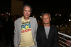 From left, artist Raymond Pettibon and Flea pose during the reception for the inaugural exhibition at Regen Projects' new Hollywood gallery on Saturday, Sept. 22, 2012, in Los Angeles, Calif. (Courtesy, Regen Projects, Los Angeles © Ryan Miller/Capture Imaging)