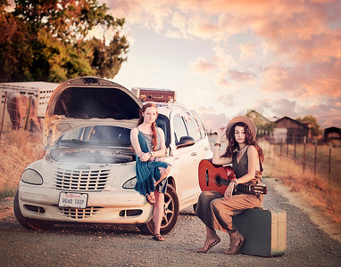 This was photographed for a local boutique. I thought it might be fun to create a story: two best friends going on a road trip when the car breaks down on a country road.