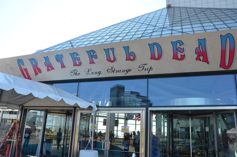 New awning logo for the Rock and Roll Hall of Fame announcing the Dead Exhibit.