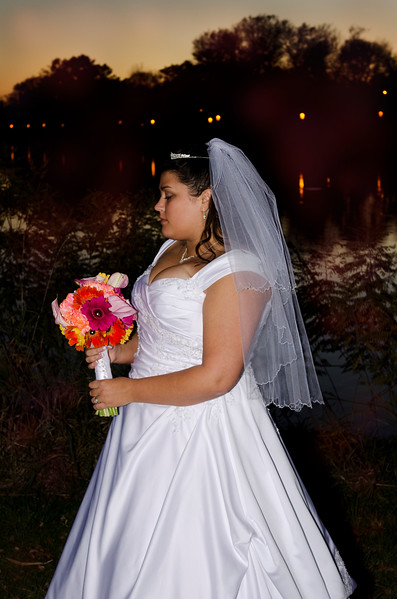 Beautiful bride, vibrant flowers, and a wonderful sunset at Frame Park in Waukesha.