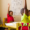 Students take an exam in pre-school at a PEACE sponsored school in Kigali Rwanda