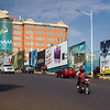 Centenary house and street scene on a sunny summer morning in Kigali Rwanda.