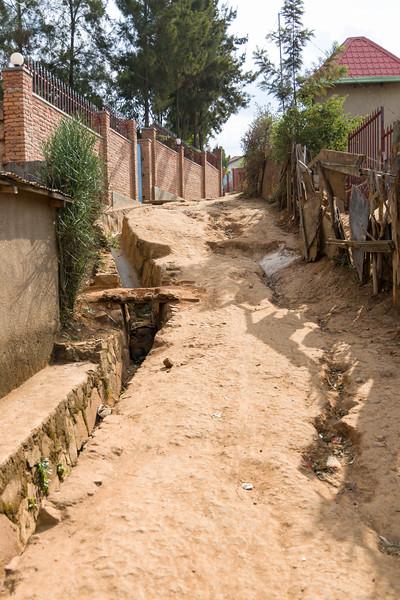 a steep dirt road in Kigali Rwanda