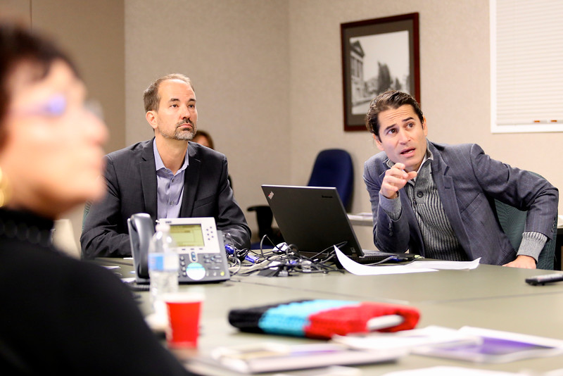 Architect and SMAC commissioner Jason A. Silva (left) accompanies artist Bryan Valenzuela for his second-round proposal.
