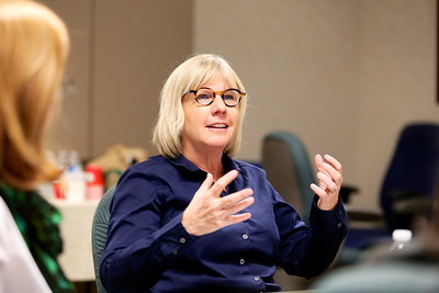 Shelly Willis, executive director of the Sacramento Metropolitan Arts Commission, makes a point during second-round proposals.