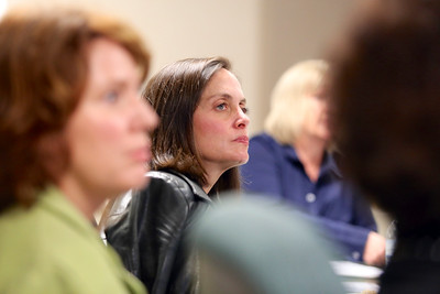 Cheryl Holbien, chair of the Sacramento Metropolitan Arts Commission, listens to the second-round proposals.
