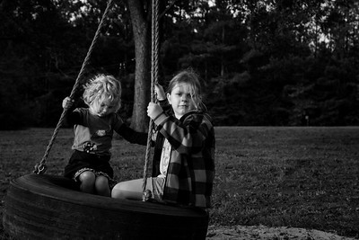 Sisters on a Tire Swing