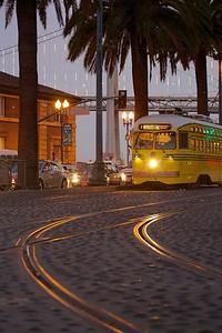 F Market Streetcar with Bay Bridge