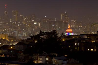 city hall and san francisco skyline