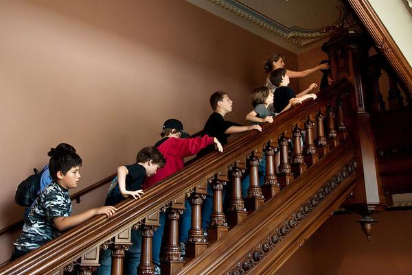 Heading upstairs to view the Legisltature