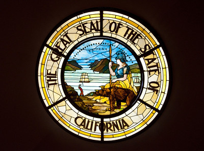 The Great Seal of California in stained glass