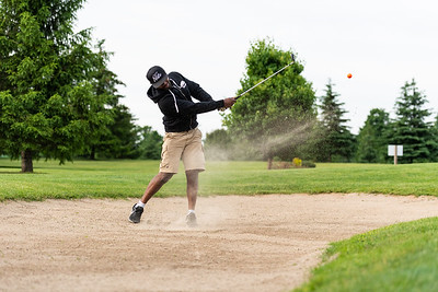 Sehon Brown golfs at Woodstock Meadows Sunday evening in Woodstock, Ont.