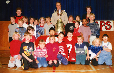 Anna at school with Stanley Cup