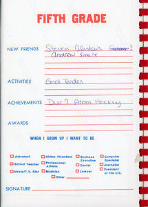 Alex School Years Book  Grade 5
