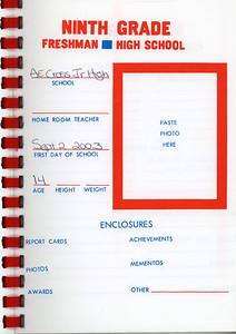 Alex School Years Book  Grade 9