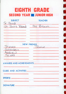 Alex School Years Book  Grade 8