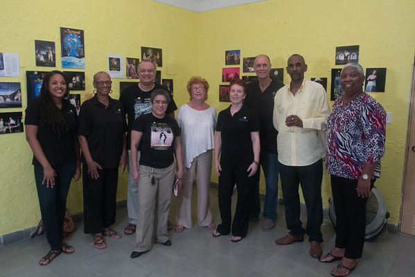 """Members of the team pictured, from left to right, are, Orchid Burnside (Box Office), Delores """"Reds"""" Adderley (Box Office & Assistant Treasurer), Philip A. Burrows (Artistic Director & Treasurer), Nicolette Bethel (Festival Director), Jane Poveromo (Executive Committee), Julia Ames (Graphic Artist), Gordon Mills (Director of """"The Shrew""""), Marcel T. Sherman (Productions Manager) and Claudette """"Cookie"""" Allens (Front of House Manager and Costume Mistress for """"Sammie Swain"""")."""