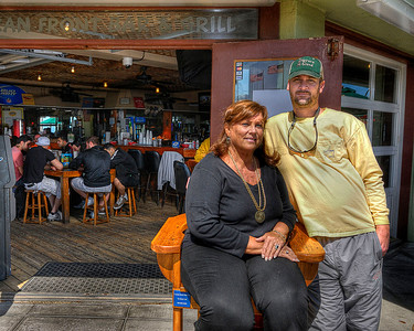 Owner of the building Pam with her son, owner of the restaurant, Russ Stalvey at Oceanfront Bar & Grill on the Boardwalk in Myrtle Beach, SC on Sunday, March 11, 2012. Copyright 2012 Jason Barnette
