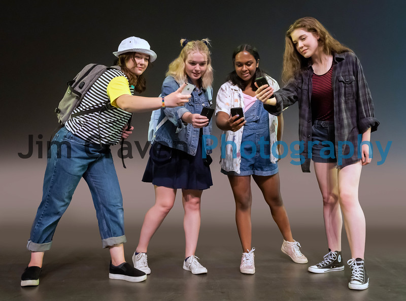 """From left, Sophia Berryessa, Aubrey Campbell, Sophie Dunleavy and Naomi Medley are teenage friends in Teen Musical Theater of Oregon's production of """"Freaky Friday.""""  Photo by Jim Craven/www.jimcravenphoto.com"""