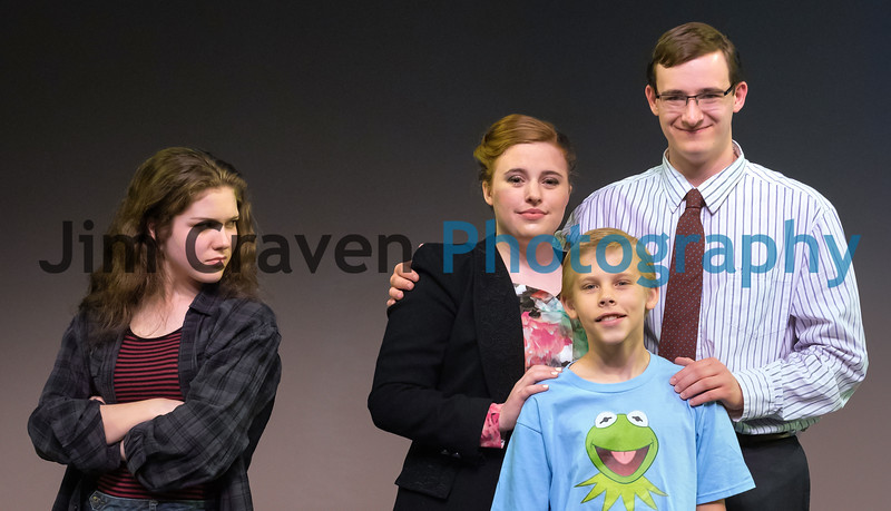 """From left, Naoimi Medley, Annie Craven, Ben Franklin and Jeb Goldman (in blue)  in Teen Musical Theater of Oregon's production of """"Freaky Friday.""""  Photo by Jim Craven/www.jimcravenphoto.com"""
