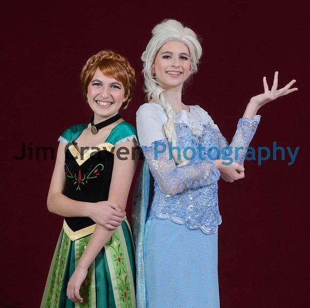 Sarah Metwally, left, plays Anna, and Kaiya Bagley plays Elsa in Teen Musical Theater of Oregon's production of Frozen, Jr. Photo by Jim Craven/www.jimcravenphoto.com