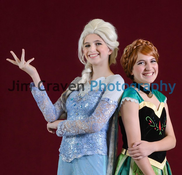Kaiya Bagley, left, plays Elsa, and Sarah Metwally plays Anna in Teen Musical Theater of Oregon's production of Frozen, Jr. Photo by Jim Craven/www.jimcravenphoto.com