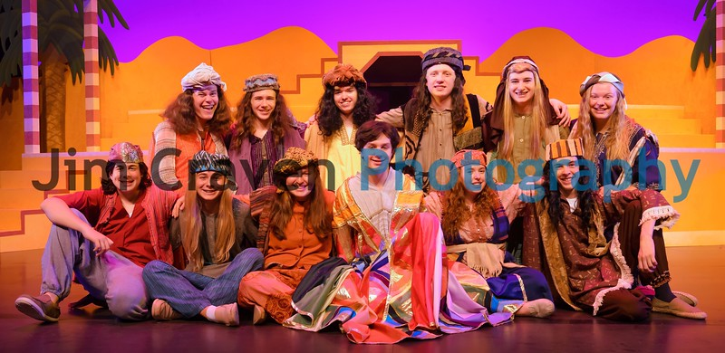 """Joseph and his brothers in Teen Musical Theater of Oregon's production of """"Joseph and the Technicolor Dreamcoat."""" Top row, from left, Jackson Werner, Grayson Weaver, Ethan Hoefling, Braydan Wente, Ben Franklin and Grace Mehl. Bottom row, from left, Josh Krull, Lucas Bishop, Alaya Metwally, Holden Jones, Annie Craven, and Evan Heintz. Photo by Jim Craven/www.jimcravenphoto.com"""